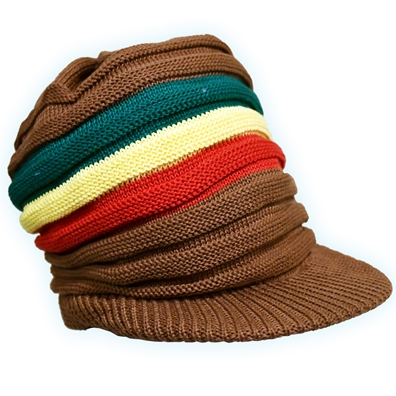 Square Topped Rasta Band Brim Headwear - Brown