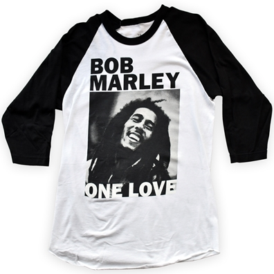 Bob Marley One Love B&W Portrait White & Black Raglan - Men's