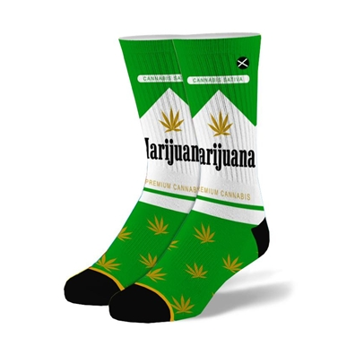 Marijuana Pack Green & White Weed Socks