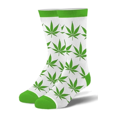 Weed Leaves - Green & White Crew Socks - Mens