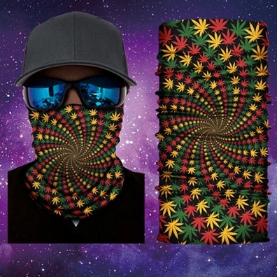 Rasta Weed Leaves Face Mask Gaiter Bandana