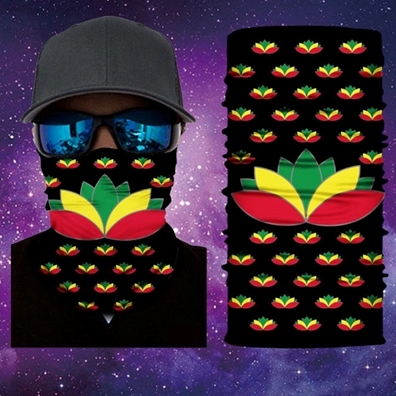 Rasta Lotus Flower Face Mask Gaiter Bandana