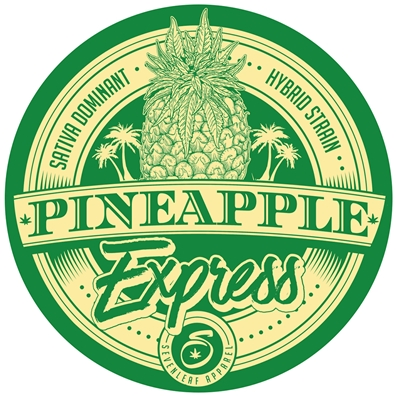 "Seven Leaf - Pineapple Express Strain - 4""x4"" Sticker"