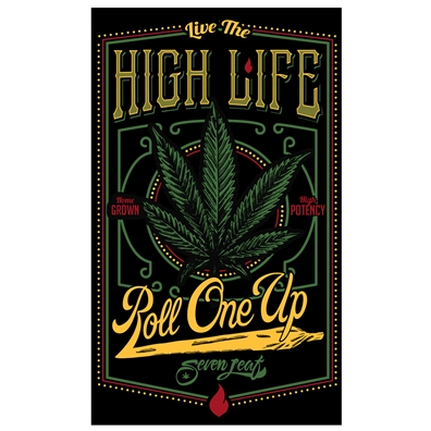 "Seven Leaf - Live The High Life - 5""x3"" Sticker"