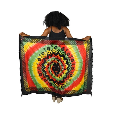 Tie Dye Rasta and Reggae Lion Head Sarong