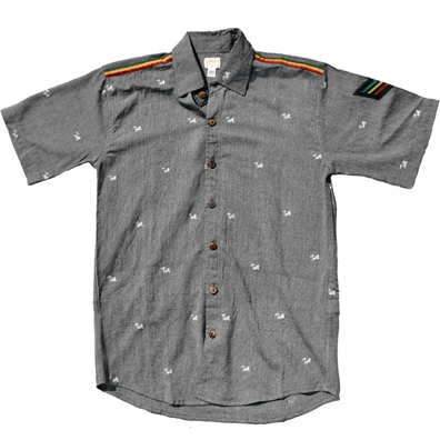 Rasta Lion of Judah Grey Button Down Shirt - Men's