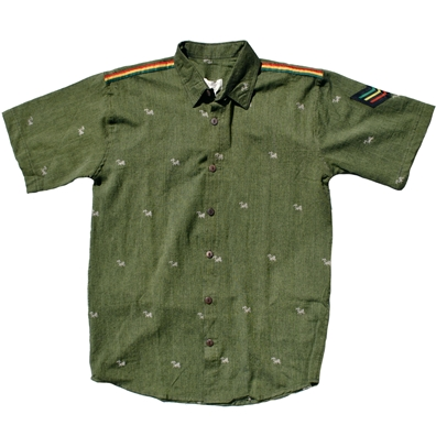 Rasta Lion of Judah Sage Button Down Shirt - Men's
