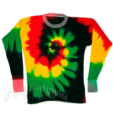 Rasta Spiral Tie Dyed Long Sleeve T-Shirt - Men's LS