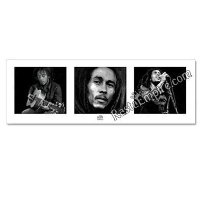 "Bob Marley Black and White 3 Pictures in One Poster 36"" x 12"""