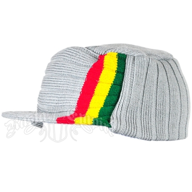 Knit Flat Top Cap with Rasta Stripe - Gray