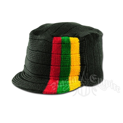 Knit Flat Top Cap with Rasta Stripe - Black