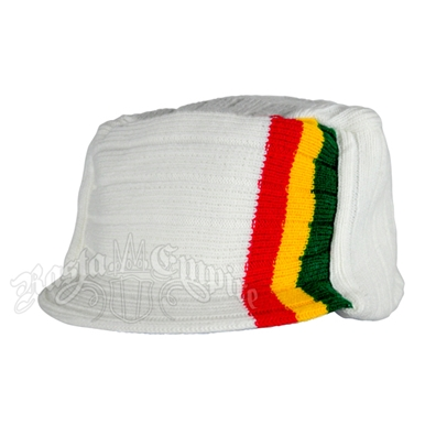 Knit Flat Top Cap with Rasta Stripe - White