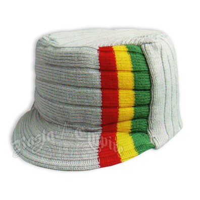 Knit Flat Top Cap with Rasta Stripe - Cream/Off White