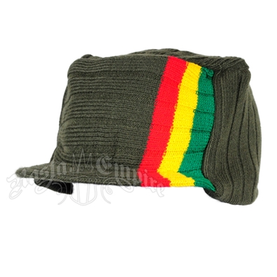 Knit Flat Top Cap with Rasta Stripe - Olive