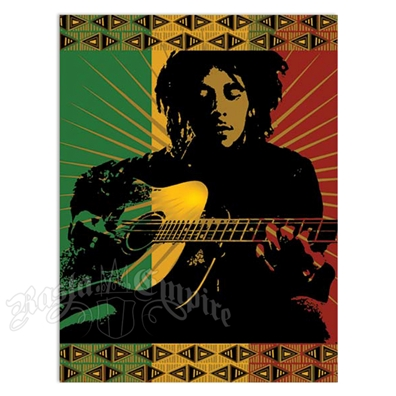 "Bob Marley Playing Guitar Tapestry 55"" X 43"""