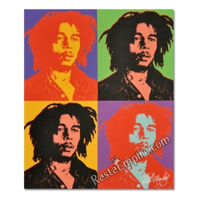 "Bob Marley Canvas Painting - Andy Warhol Style 19"" x 16"""