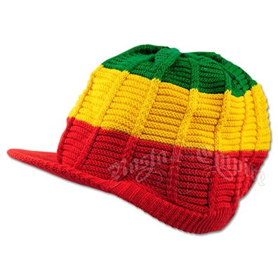 Rasta Cotton Ribbed Visor Cap - Red Brim