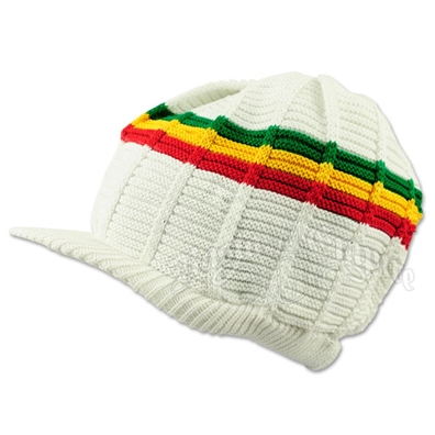 Rasta Cotton Ribbed Visor Cap - White/Rasta Stripes