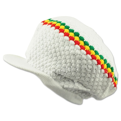 Rasta Band Brim Headwear - White