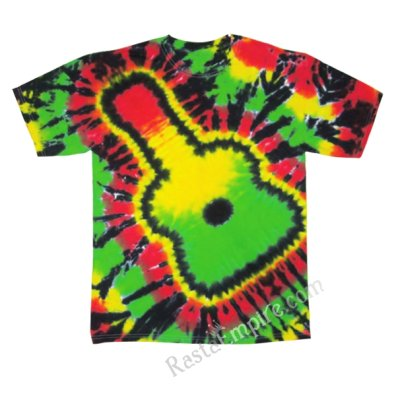 Rasta Guitar Tie Dyed Short Sleeve T-Shirt - Men's SS