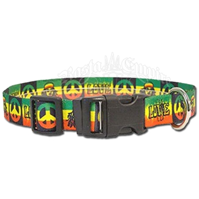 Peace, Love & Rasta Dog Collar