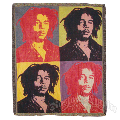 Bob Marley Woven Throw Blanket - Andy Warhol Style