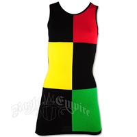 Rasta and Reggae Sleeveless Block Knit Mini Dress