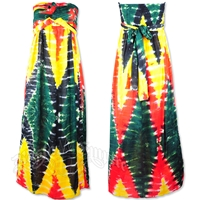 Rasta and Reggae Strapless Tie Dye Maxi Dress
