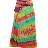 Maroon Tie Dye Long Wrap And Snap Skirt
