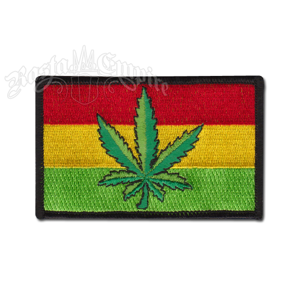 Embroidered gold cannabis leaf on Rasta flag 71mm x 47mm 100/% Patch Badge