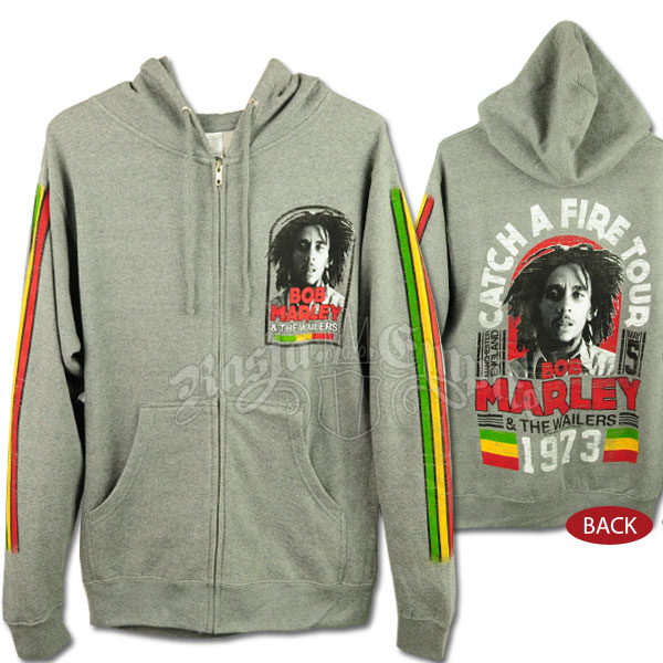 Bob Marley CAF Manchester Tour Gray Zip Hoodie Men's