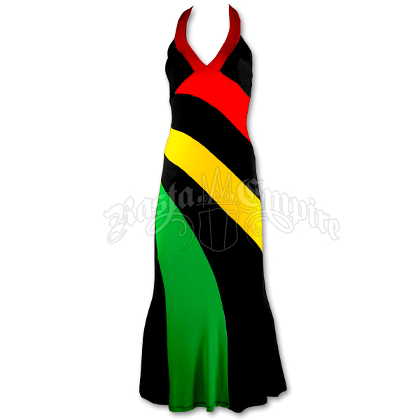 Long reggae / rasta halter dress Tank