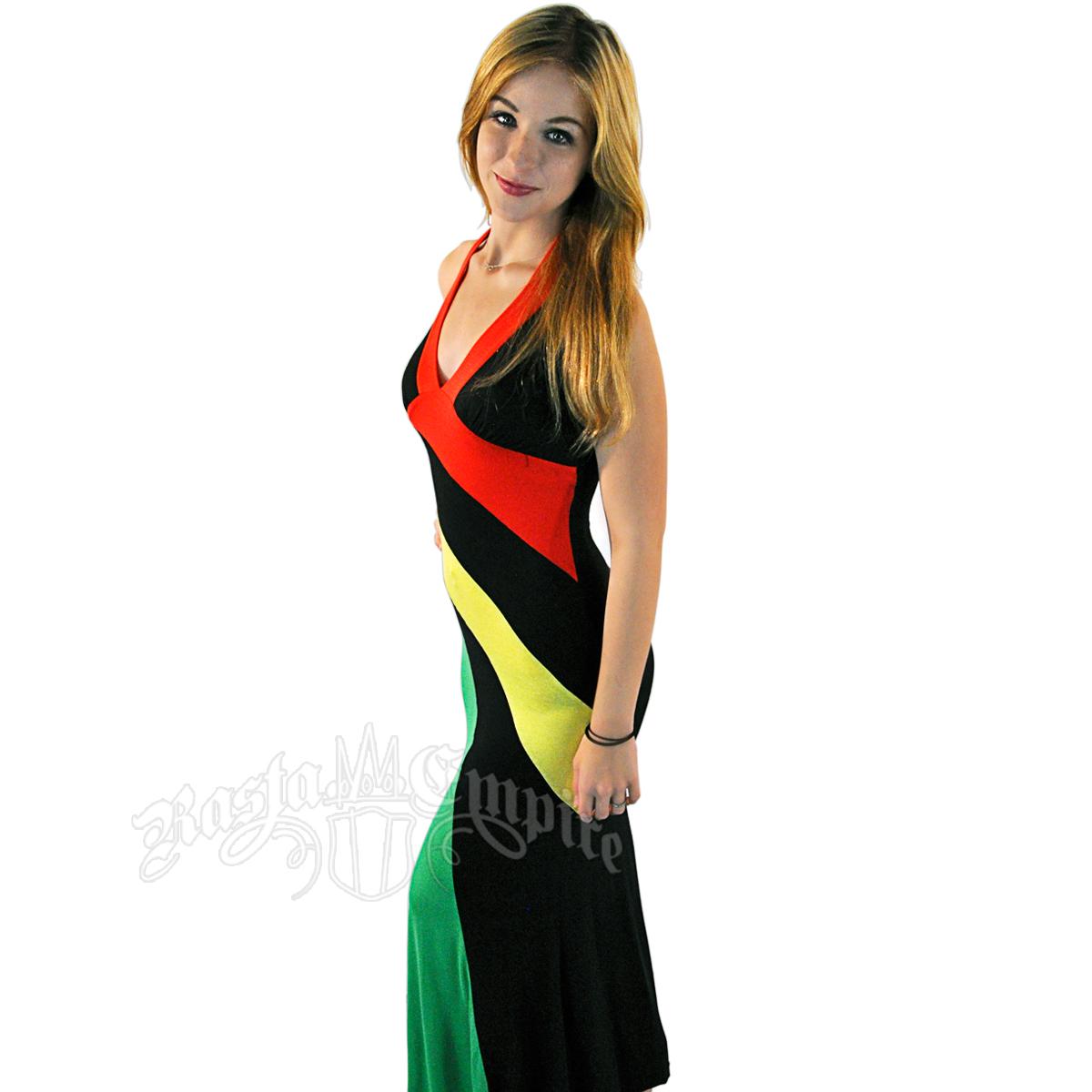 Reggae And Rasta Long Halter Dress Rastaempire Com