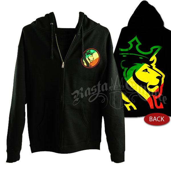 Rasta Striped Lion Logo Black Hoodie Men's
