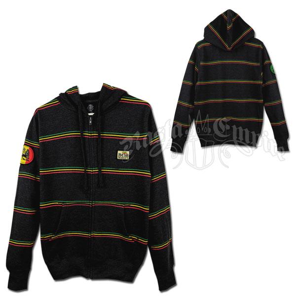 Bob Marley Rasta Stripe Charcoal Zip Hoodie - Men's @ RastaEmpire.com