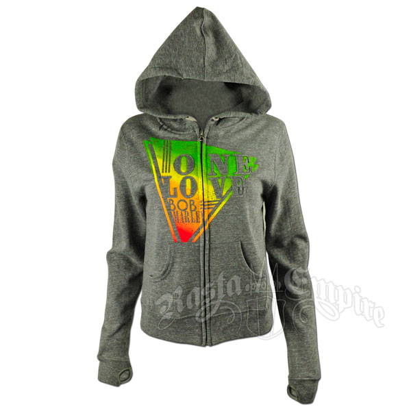 Bob Marley One love Rasta Triangle Grey Zip Hoodie - Women's