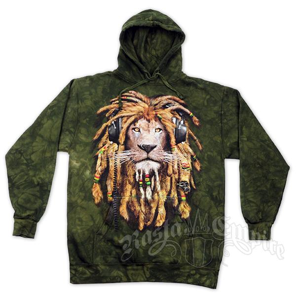 Rasta DJ Lion Olive Green Tie Dye Hoodie Men's
