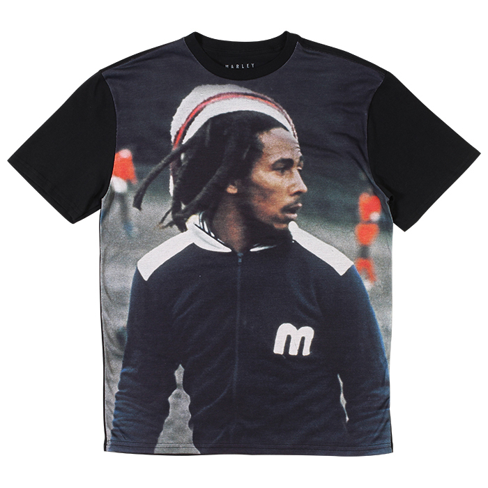This black, % cotton t-shirt features the logo from Bob Marley's Tuff Gong record label in a distressed tan print, with a Marley Rastafari logo in the center. A unique, stylish tee perfect for any old school Marley fan more.