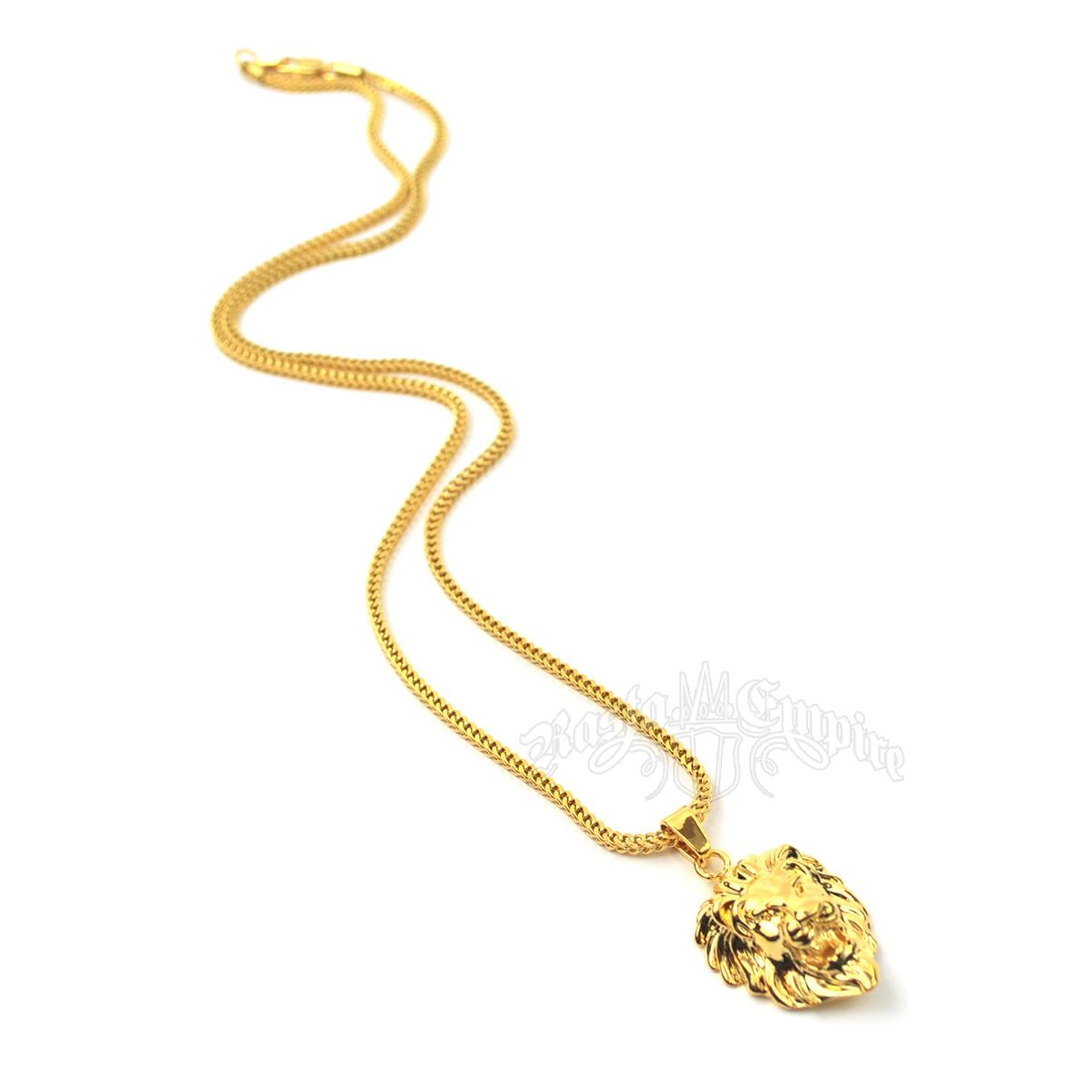 Gold lion head necklace show picture 1 show picture 2 aloadofball Choice Image