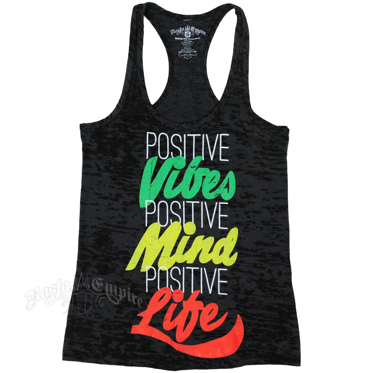Rastaempire Positive Life Black Burnout Tank Top Women S