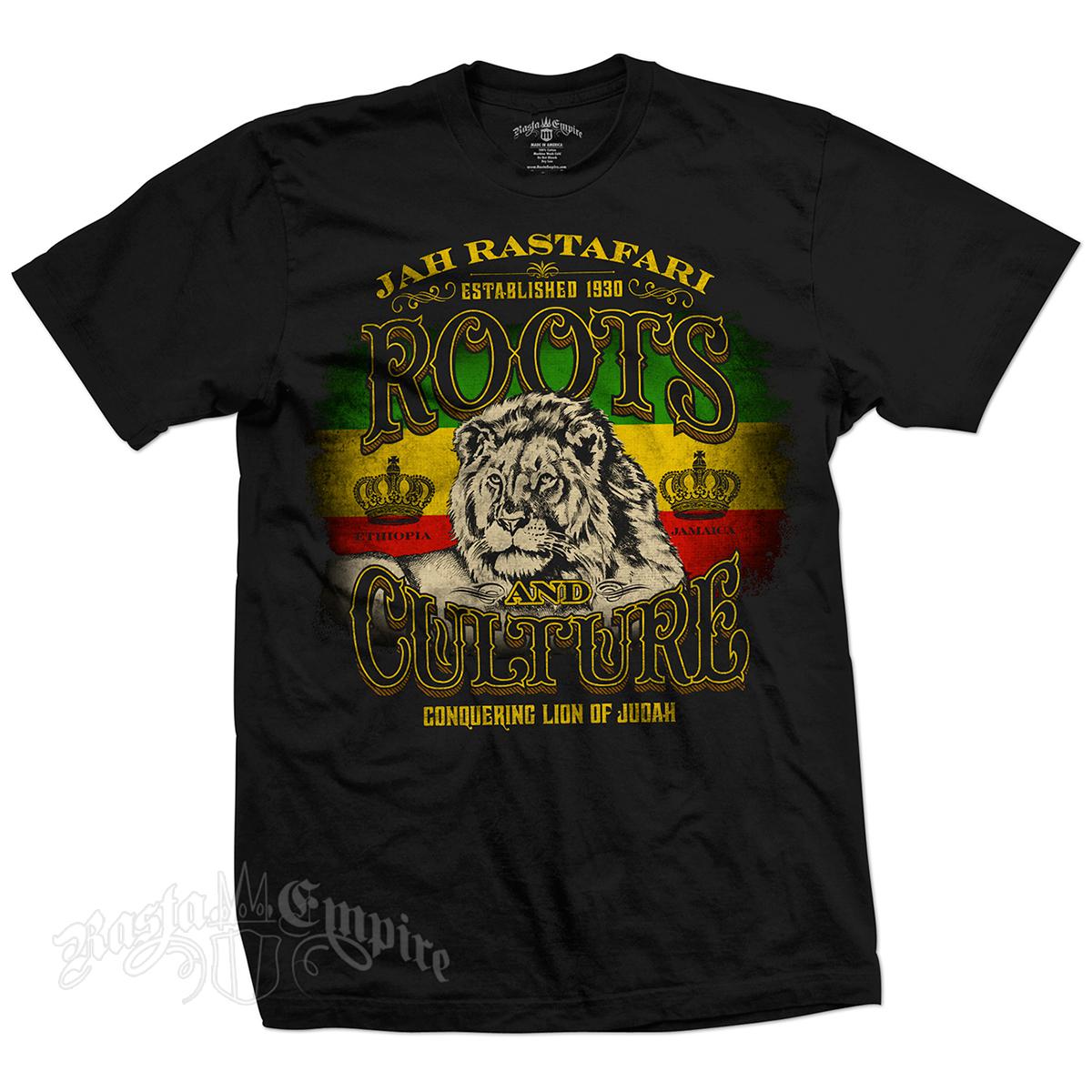 RastaEmpire Roots & Culture Black T-Shirt – Men's | Lion of Judah ...