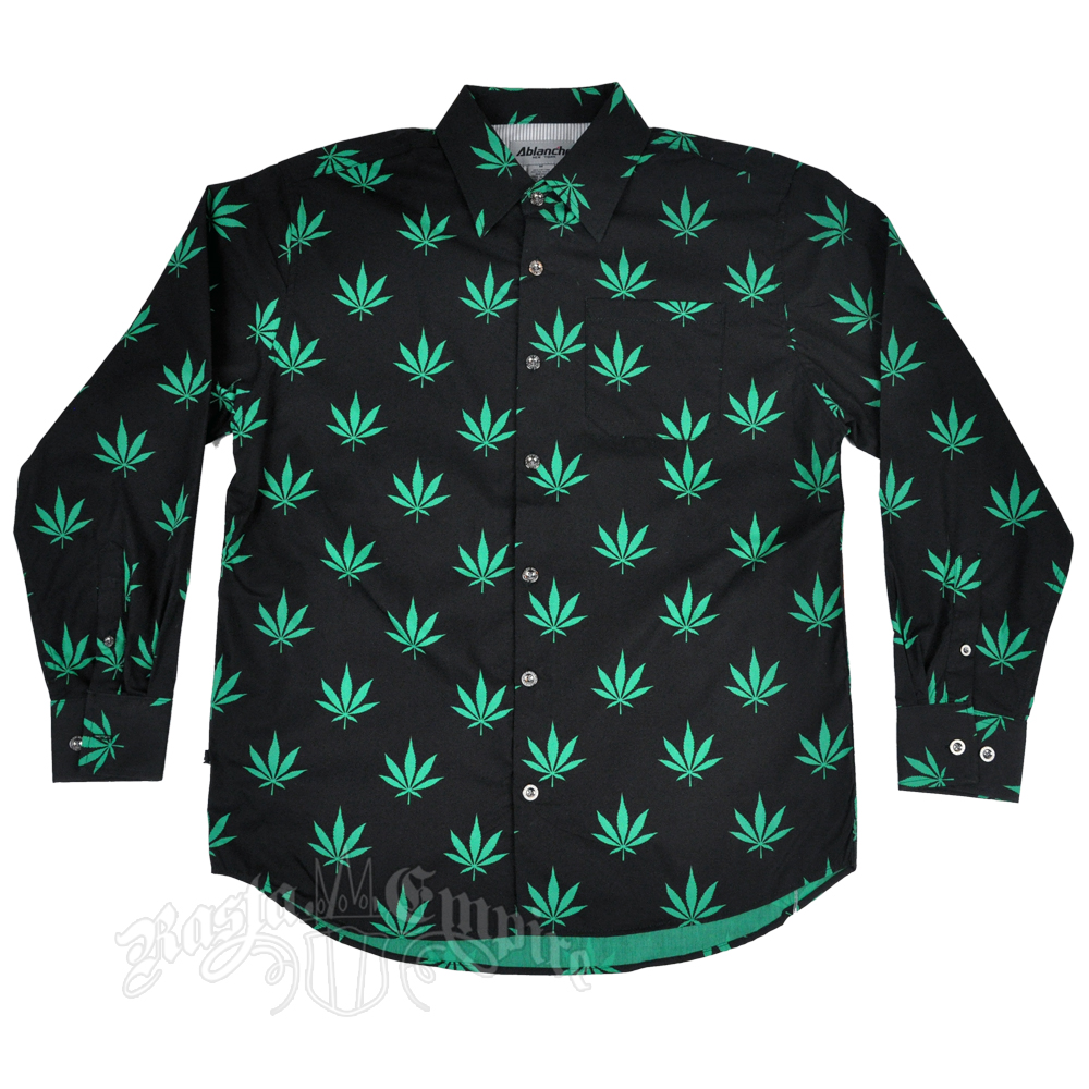 cff26ca5 Marijuana Leaves Black & Green Button Down Long Sleeve Shirt - Men's
