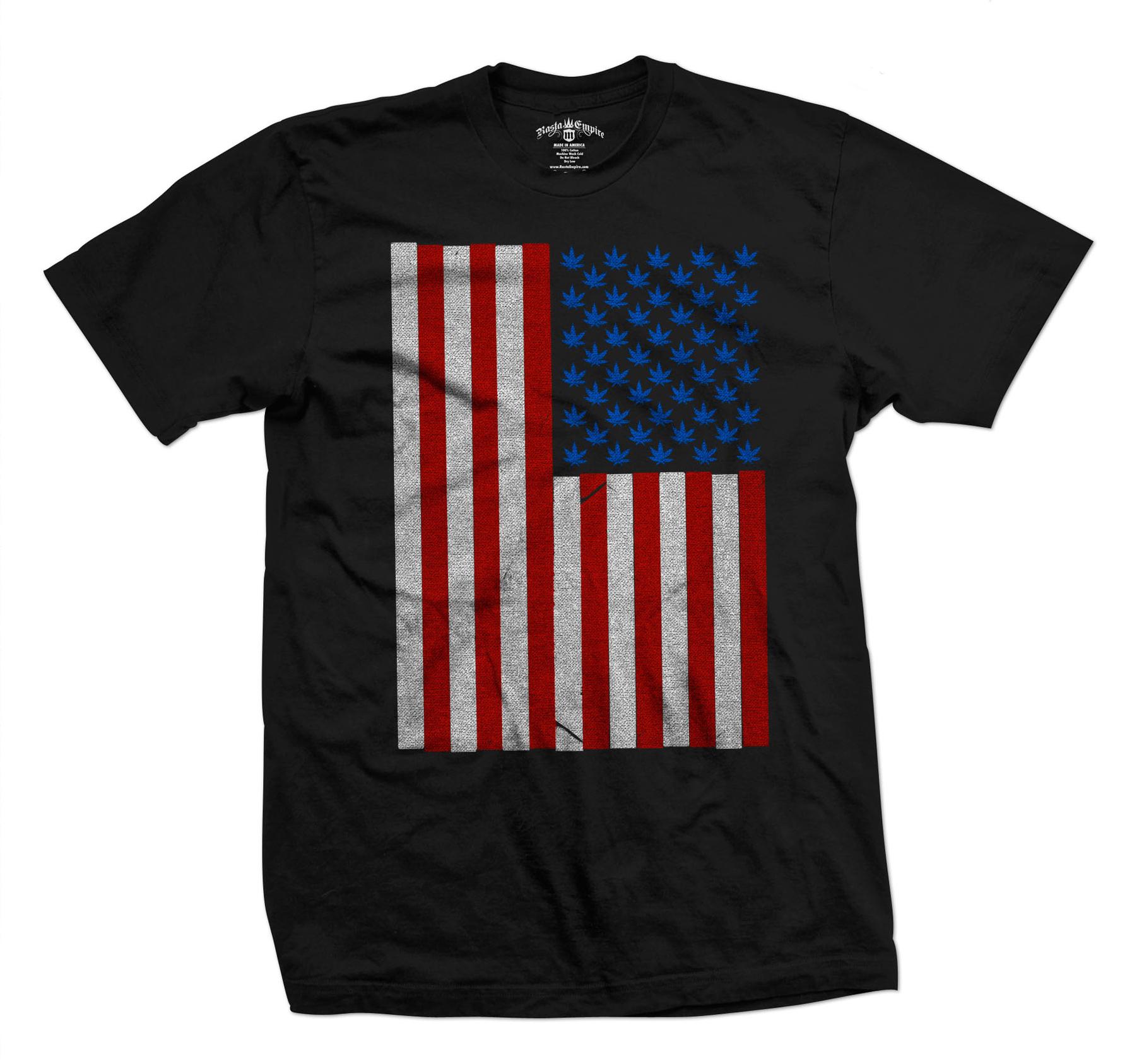 Seven Leaf Pot Leaf Stars American Flag Black T Shirt U2013 Menu0027s At  RastaEmpire.com