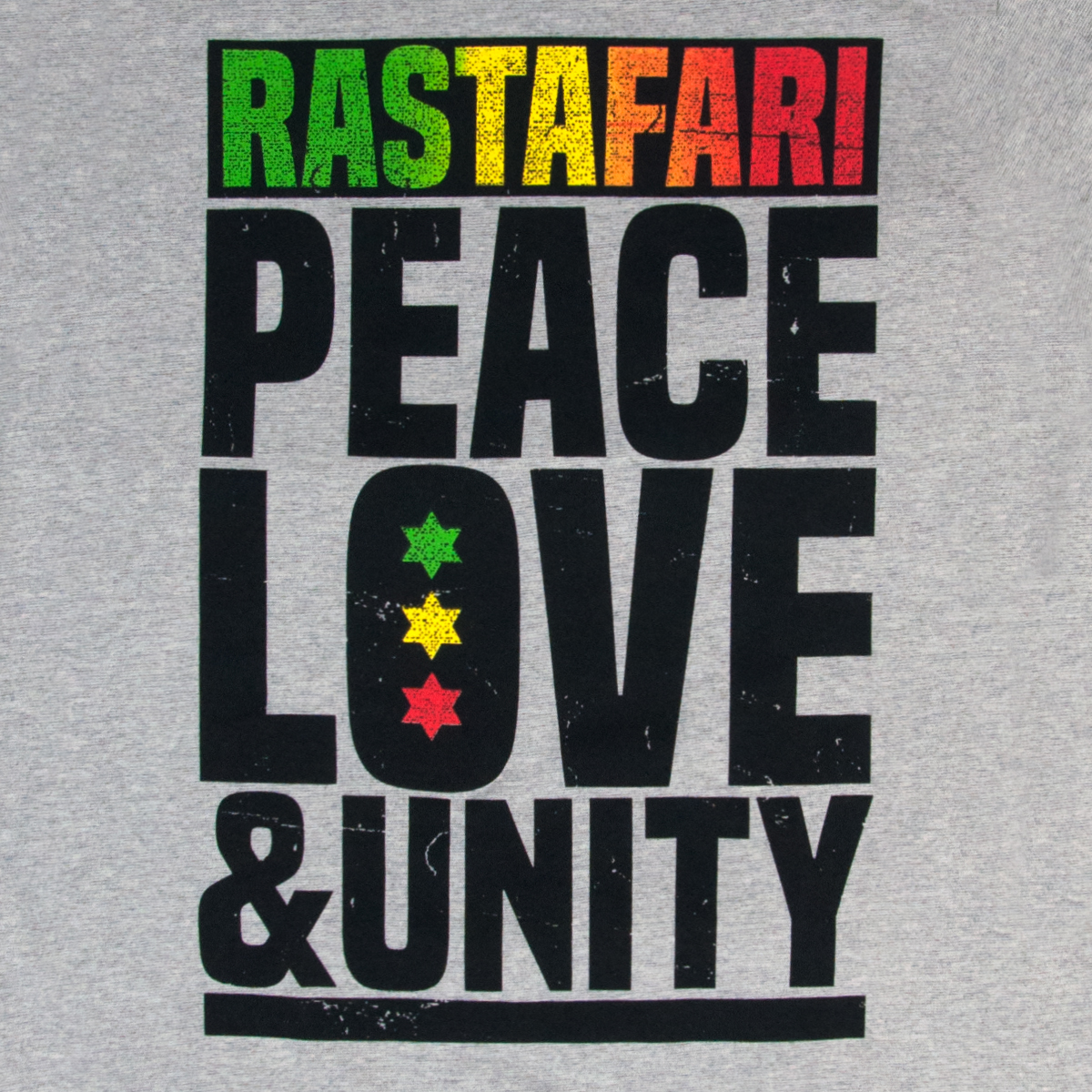 Rastafari Peace Love Amp Unity Heather Grey T Shirt