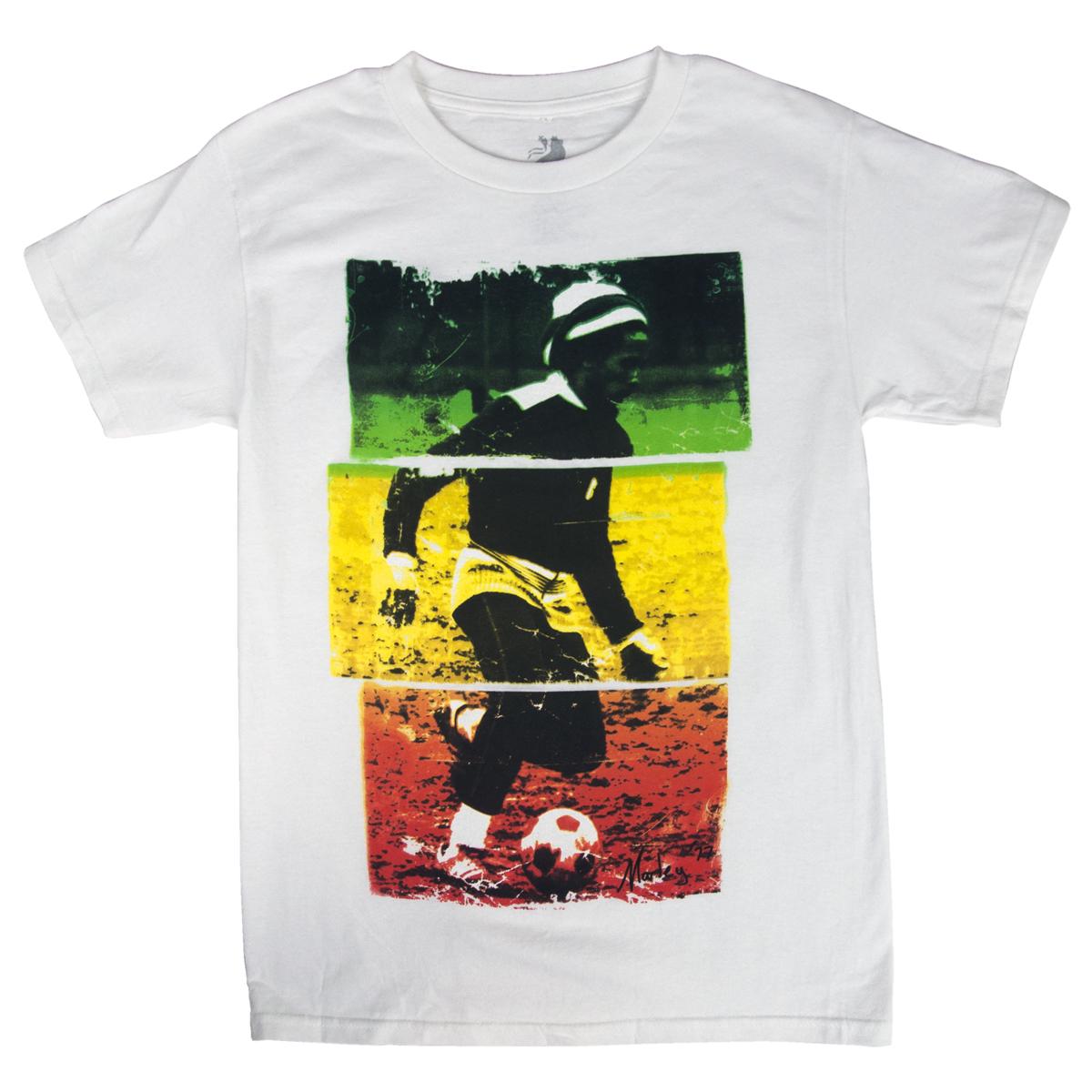 Bob Marley Soccer 77 Rasta Tri-Color White T-Shirt - Men's