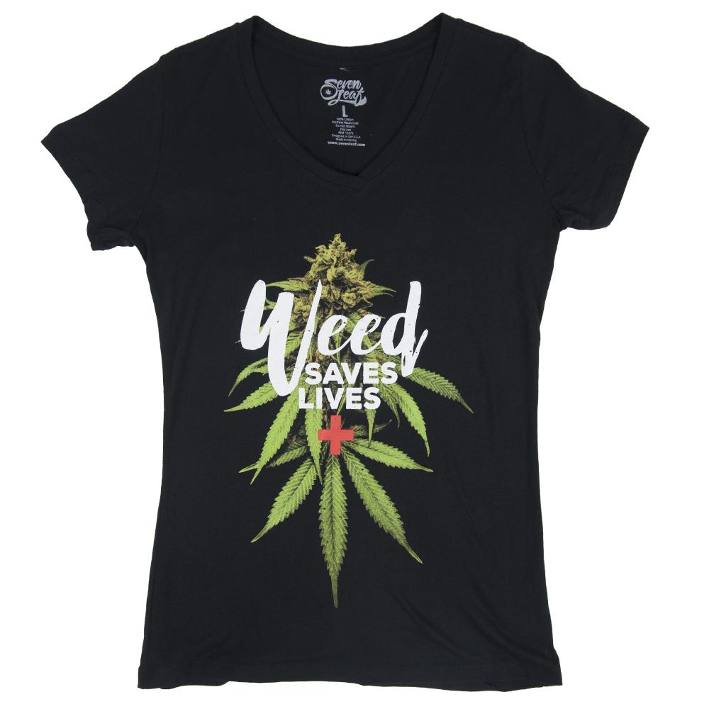 Seven Leaf Weed Saves Lives Black T-Shirt – Women s  3e33b530af262
