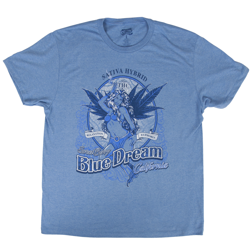 Seven leaf blue dream strain light blue t shirt men s Light blue t shirt mens